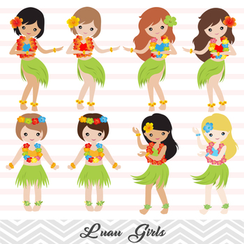 Hula girls clipart picture library stock Digital Luau Girl Clip Art, Hawaii Clip Art, Tiki Clipart, Hula Girl Clipart picture library stock