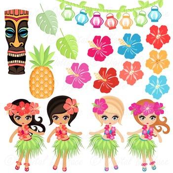 Hula girls clipart jpg transparent download Luau / Hawaiian Clip Art, Tiki / Hula Girl Clipart Graphic Art jpg transparent download