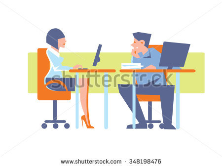 Human vs computer clipart graphic black and white download Man Sitting Table Working On Computer Stock Vector 411510256 ... graphic black and white download