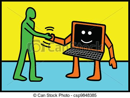 Human vs computer clipart image royalty free library Clipart Vector of Human and Technology - Line art illustration of ... image royalty free library