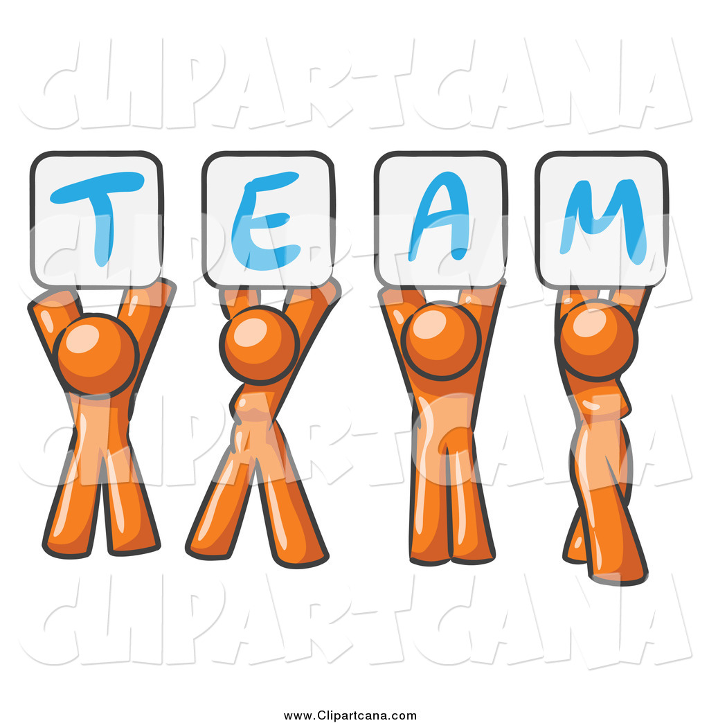 Humans holding signs clipart jpg library stock Clip Art of Orange People Holding up Team Signs by Leo Blanchette - #59 jpg library stock
