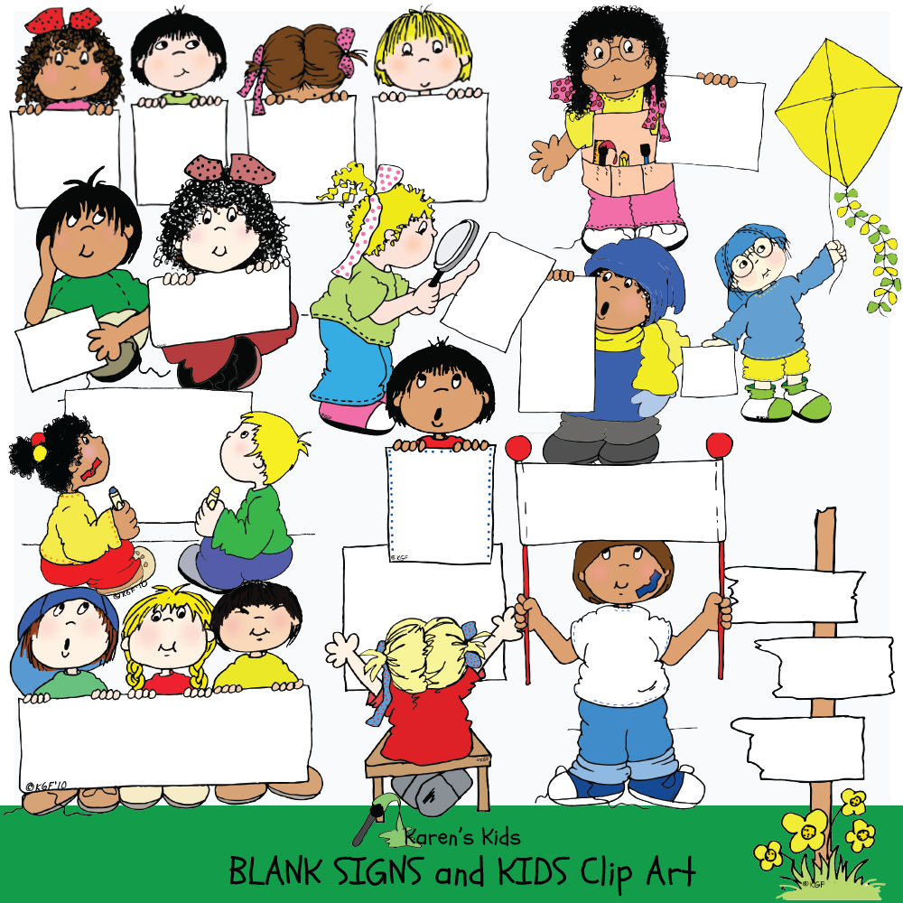 Humans holding signs clipart picture transparent stock Clip Art Kids Holding Blank Signs 1 picture transparent stock
