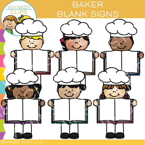 Humans holding signs clipart clip download Bakers with Blank Signs Clip Art clip download
