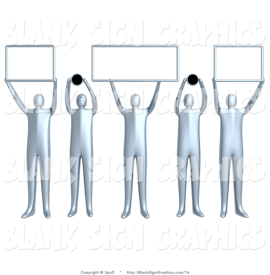Humans holding signs clipart image royalty free Illustration of 5 Silver People Holding up Blank Domain Signs by ... image royalty free