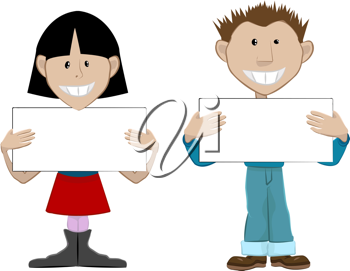 Humans holding signs clipart clipart black and white stock Royalty Free Clipart Image of Two People Holding Signs #481534 ... clipart black and white stock