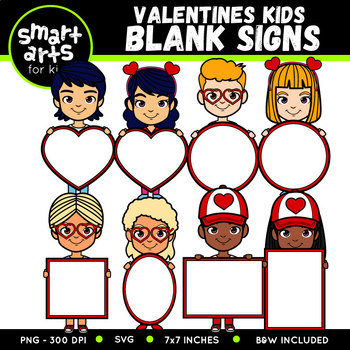 Humans holding signs clipart download Valentines Kids Holding Blank Signs Clip Art download