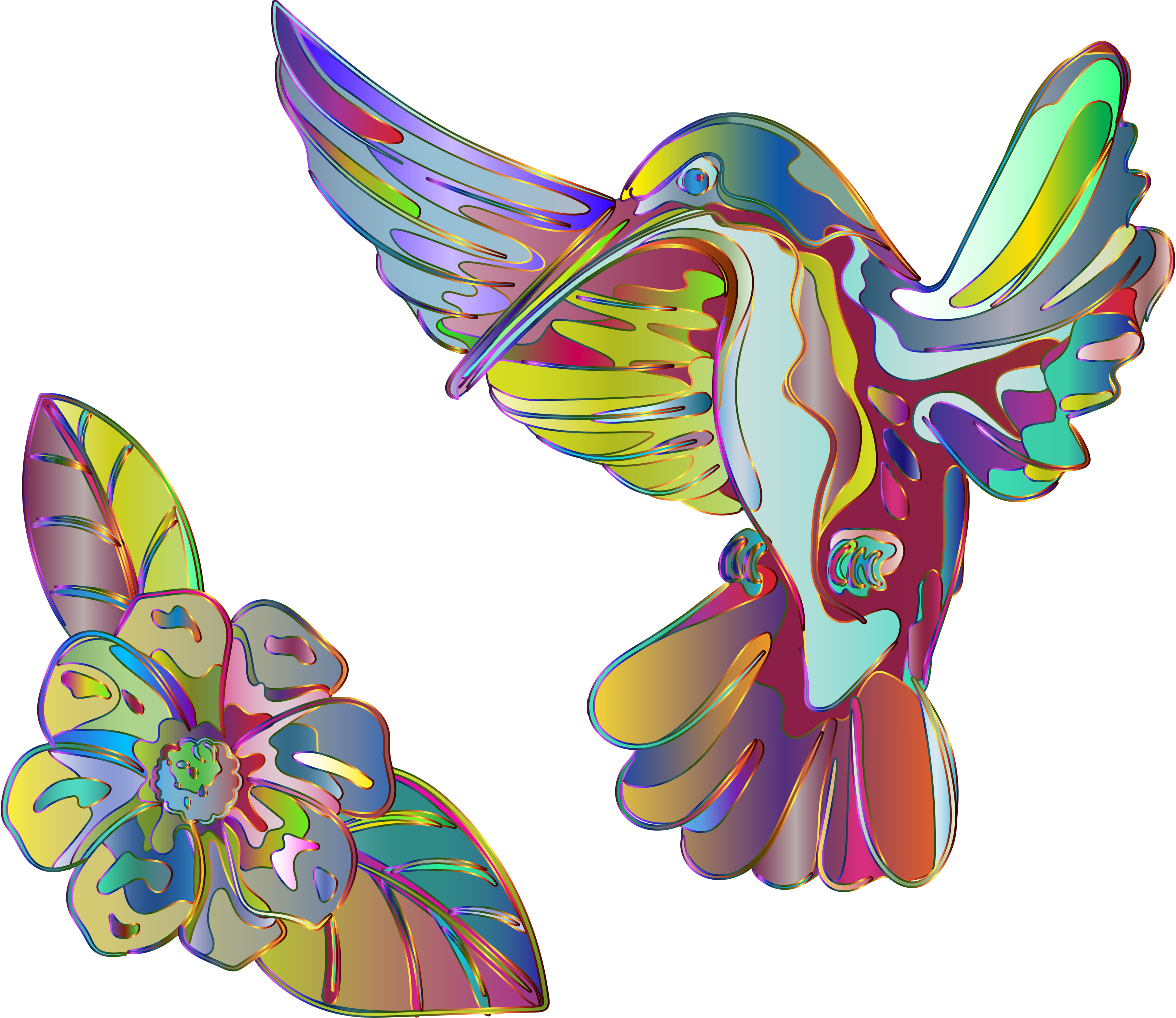 Clipart - Abstract Artistic Hummingbird And Flower vector royalty free stock