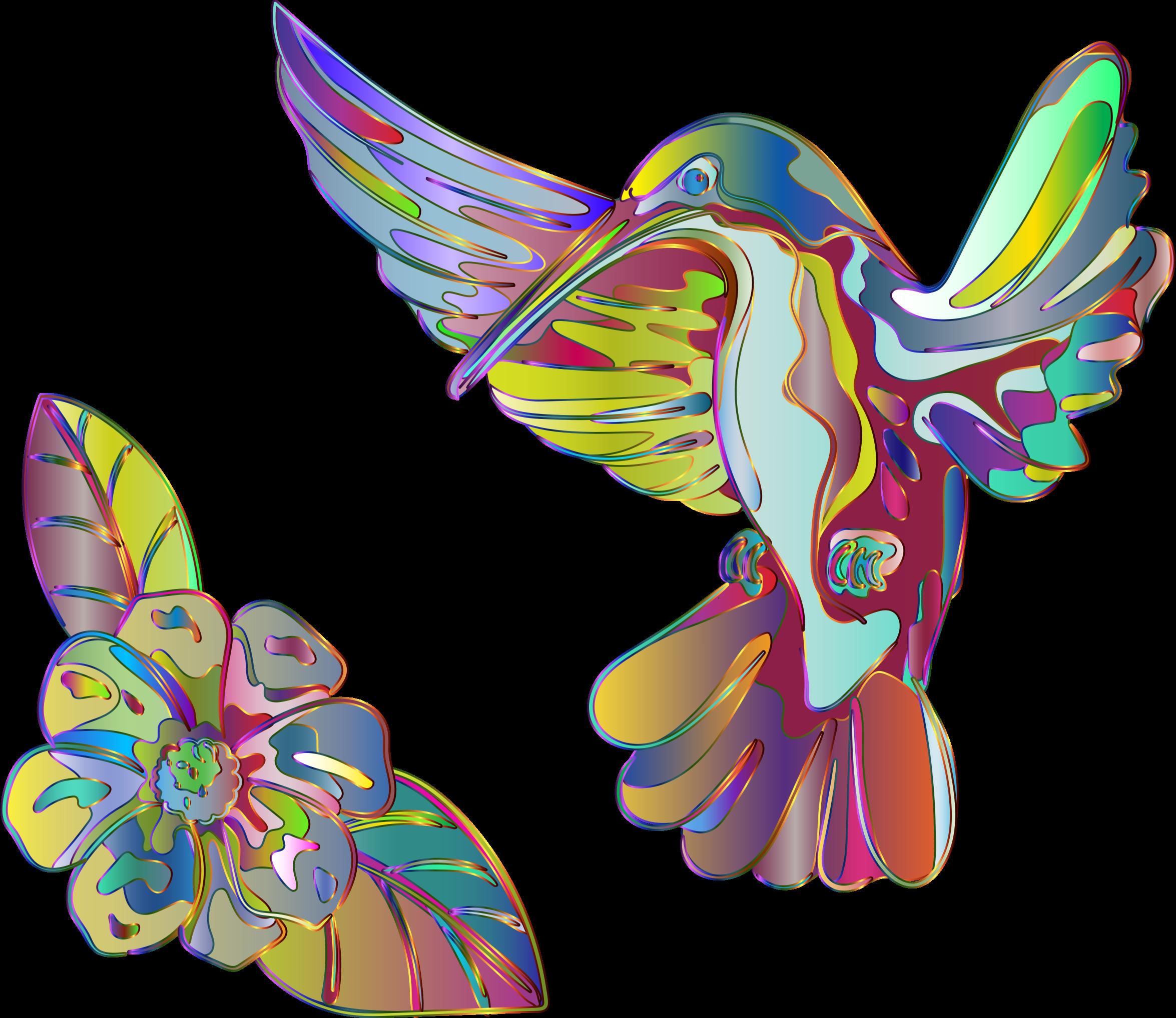 Hummingbird and flower clipart transparent stock Clipart - Abstract Artistic Hummingbird And Flower transparent stock