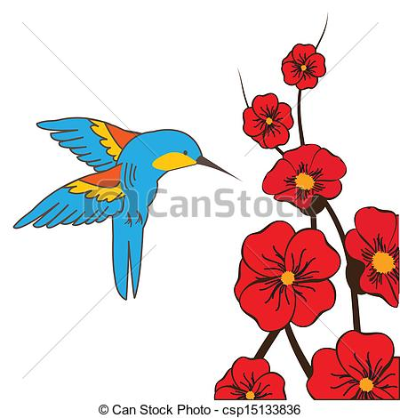 Hummingbirds and flowers clipart banner royalty free library Vectors of Hummingbird feeding on flowers in summer csp15133836 ... banner royalty free library