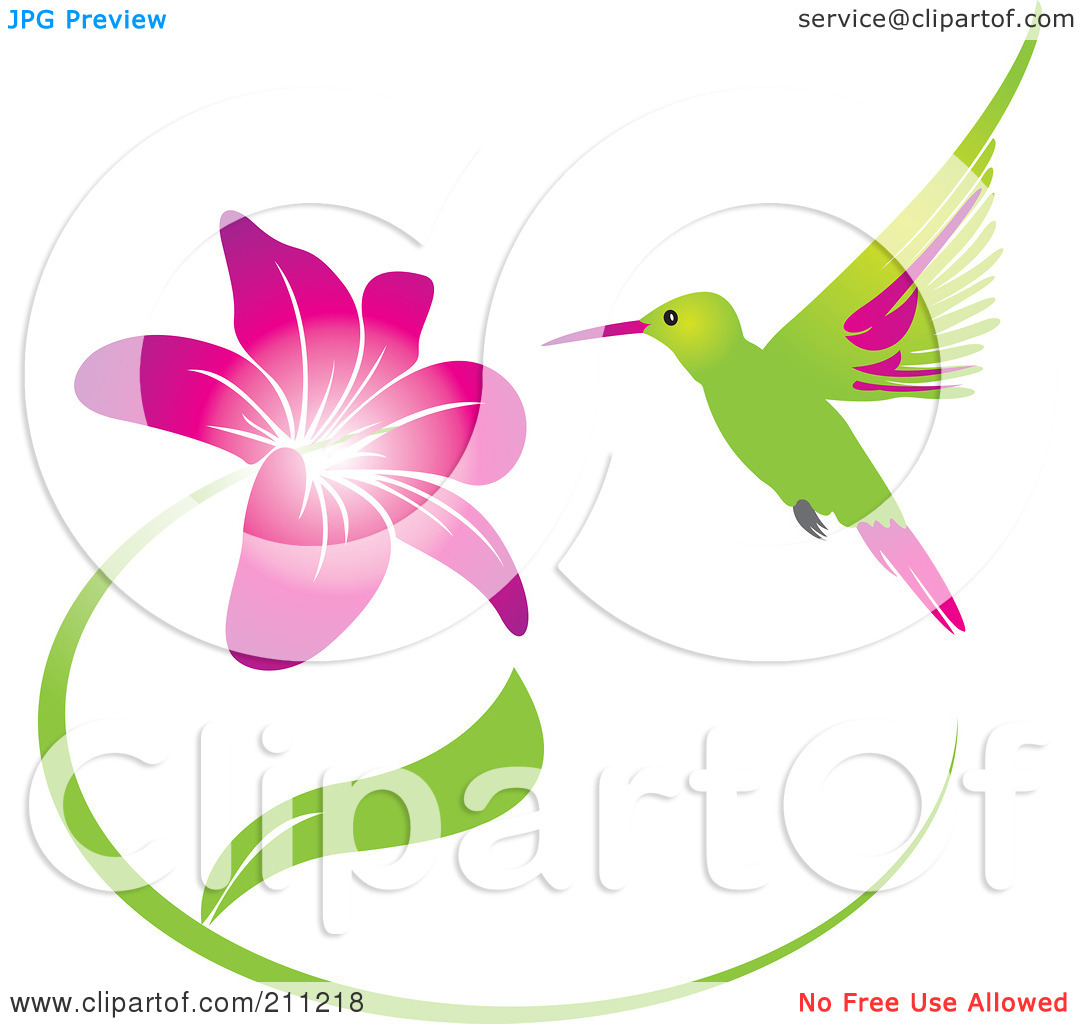 Hummingbirds and flowers clipart clip stock Royalty-Free (RF) Clipart Illustration of a Humming Bird And ... clip stock