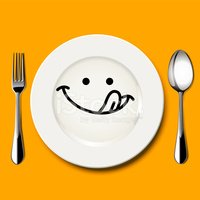 Hungry face clipart jpg royalty free library Hungry Face Draw on White Plate With Spoon and Fork stock vectors ... jpg royalty free library