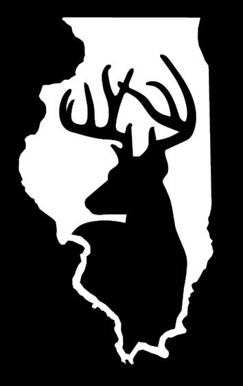 Hunting clipart black and white deer turkey vector transparent Illinois Whitetail Deer Hunting Window Decal vector transparent
