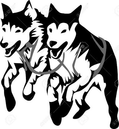 Husky stick figure clipart black and white image transparent Free clipart dog sled team image transparent