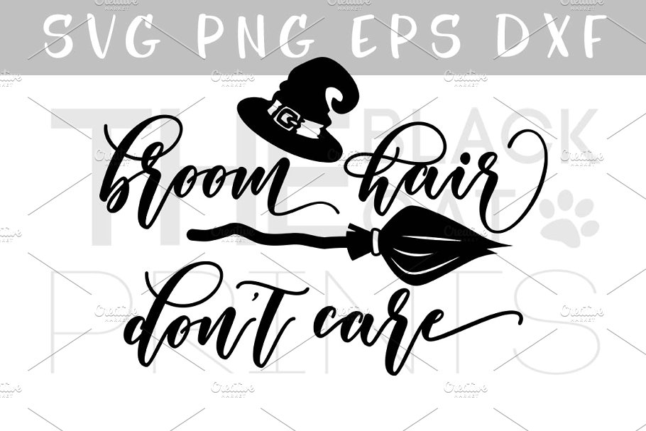 I dont care black and white clipart banner library download Broom hair don\'t care SVG DXF EPS banner library download