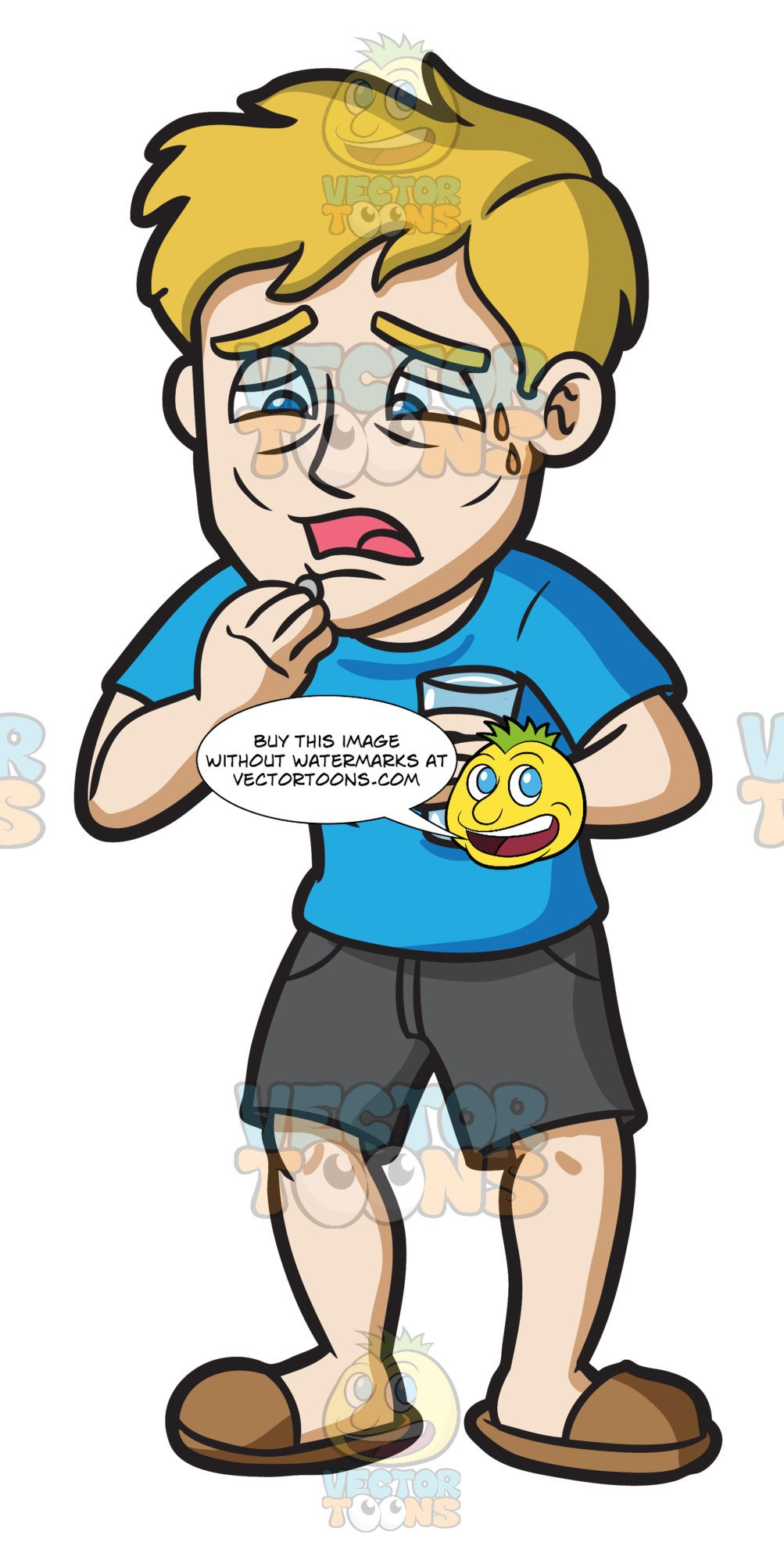 I feel sick clipart clipart royalty free A Sick Guy Taking His Medication clipart royalty free