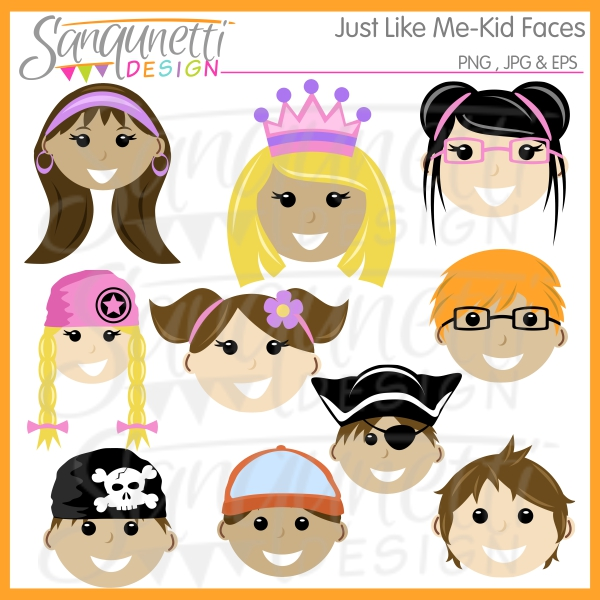 I like me clipart jpg royalty free Just like me kid faces clipart includes 5 girls and 5 boys in ... jpg royalty free