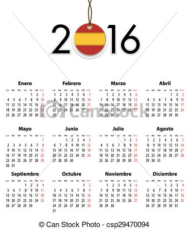 I like spanish clipart clip art free stock EPS Vectors of Spanish calendar grid for 2016 with flag like tag ... clip art free stock