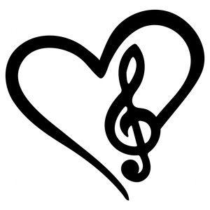I love music clipart vector black and white Silhouette Design Store: musical love … | logo | Music ... vector black and white