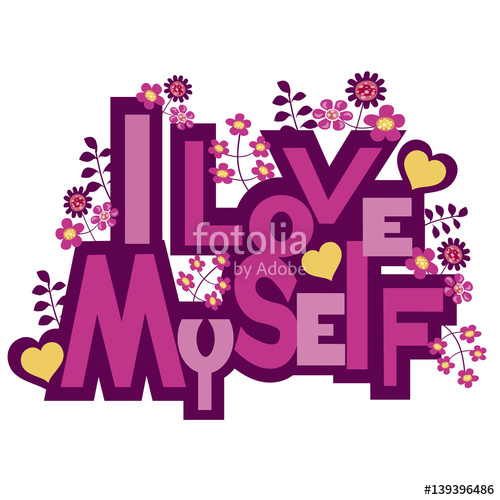 I love myself clipart clipart black and white library I love myself vector graphic.\