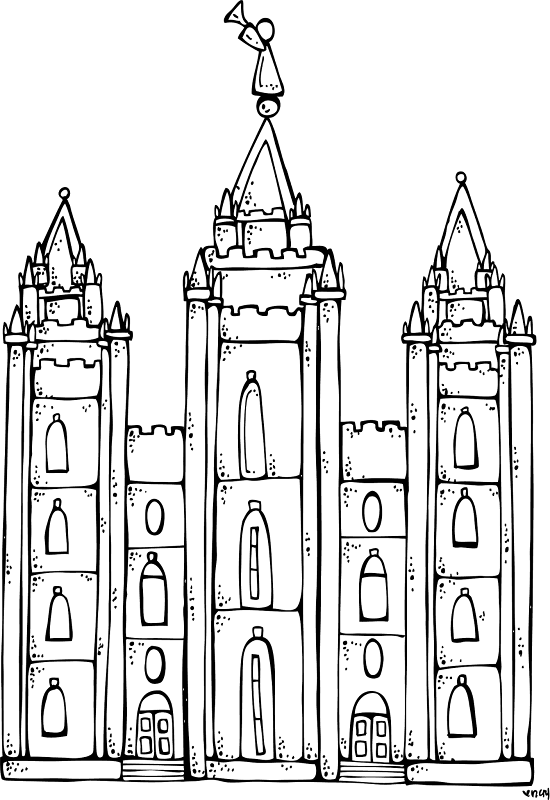 Lds seminary clipart transparent black and white banner black and white stock Melonheadz LDS illustrating: I Love to see the temple ... banner black and white stock
