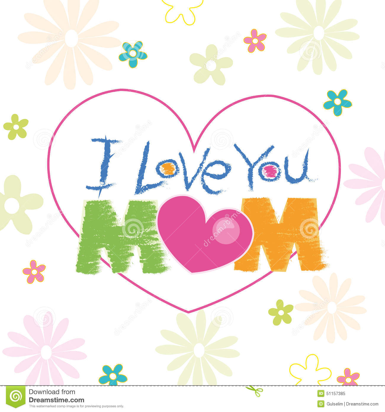 I love u mama clipart image library stock I Love You Mom Doodle With Flowers Greeting Card Stock Vector ... image library stock