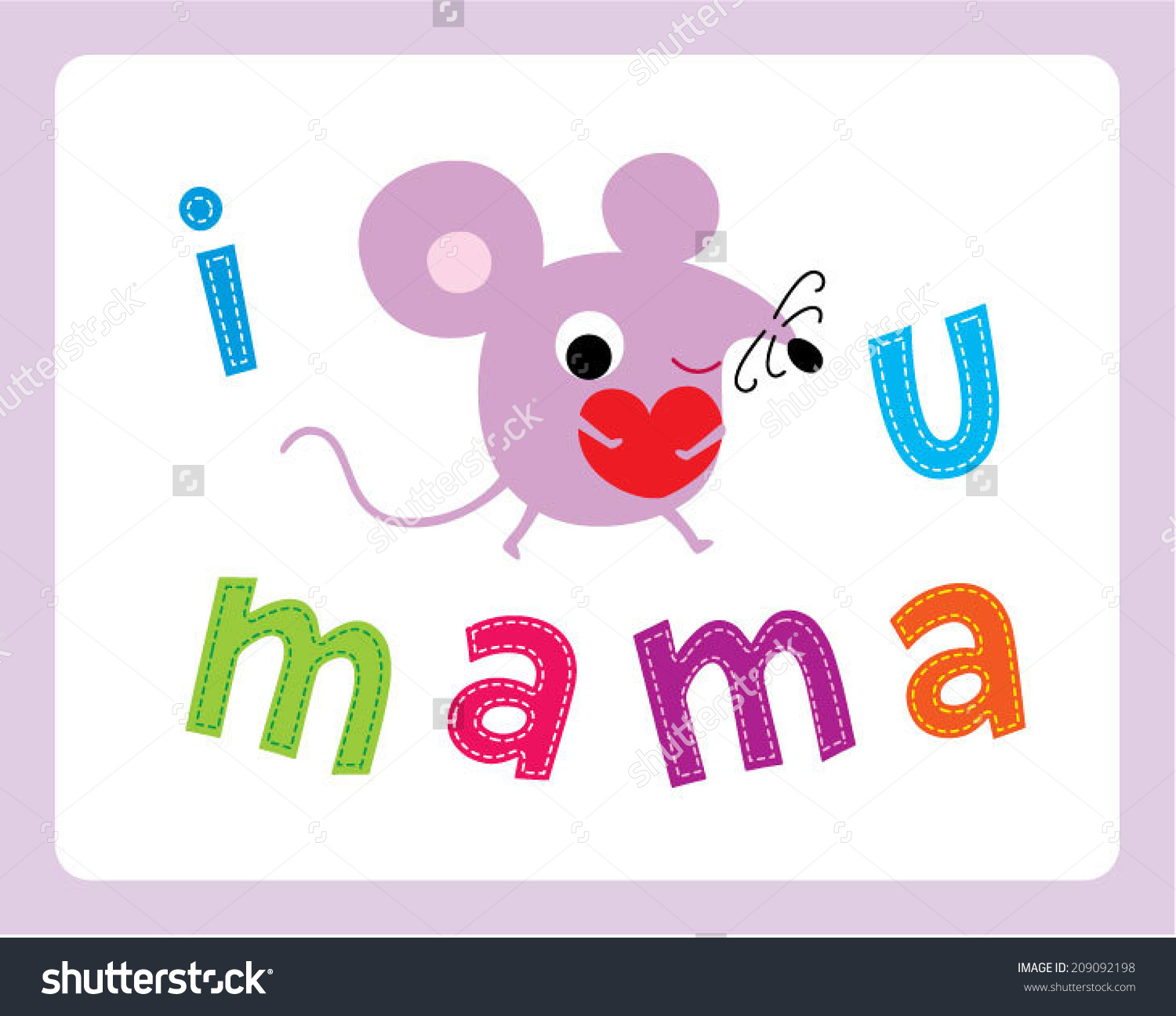 I love u mama clipart free library Love You Mama Rat Card Stock Vector 209092198 - Shutterstock free library