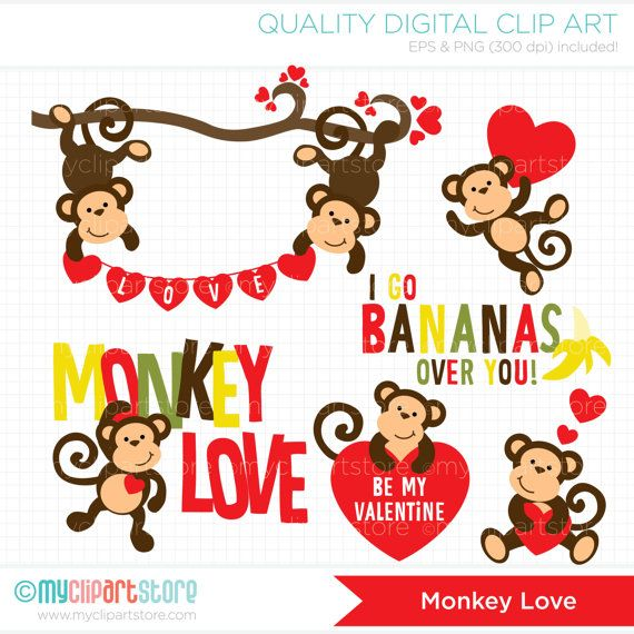 I love you clipart monkey picture Monkey Love / Valentine Clip Art / Digital by MyClipArtStore ... picture