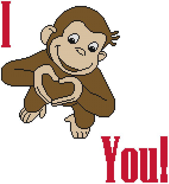 I love you clipart monkey graphic transparent download Cross Stitch PATTERN COLOR Curious George Monkey Ape ... graphic transparent download