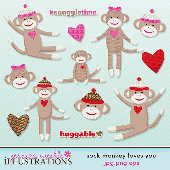 I love you clipart monkey jpg library library Sock Monkey Loves You Cute Digital Clipart - Commercial Use ... jpg library library