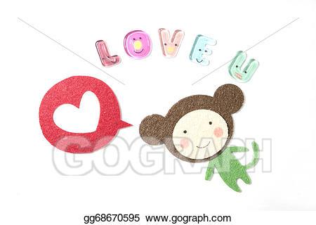 I love you clipart monkey jpg transparent Stock Illustrations - Monkey cartoon saying love you. Stock ... jpg transparent