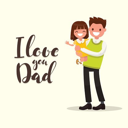 I love you daddy clipart banner library Inscription I Love You Father With Vector Illustr premium ... banner library