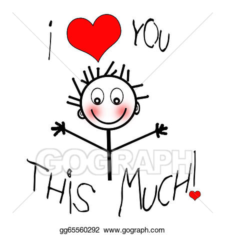 I love you sign child clipart vector freeuse stock Drawings - I love you (child\'s sketch). Stock Illustration ... vector freeuse stock