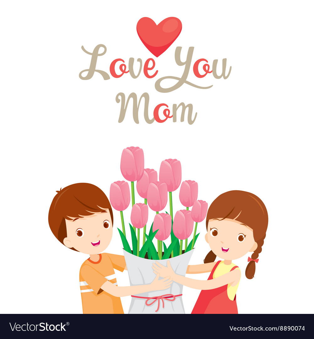 I love you sign child clipart picture royalty free Love You Mom With Children And Flower picture royalty free