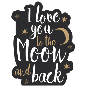 I love you to the moon and back clipart graphic black and white I Love You To The Moon And Back Sticker graphic black and white
