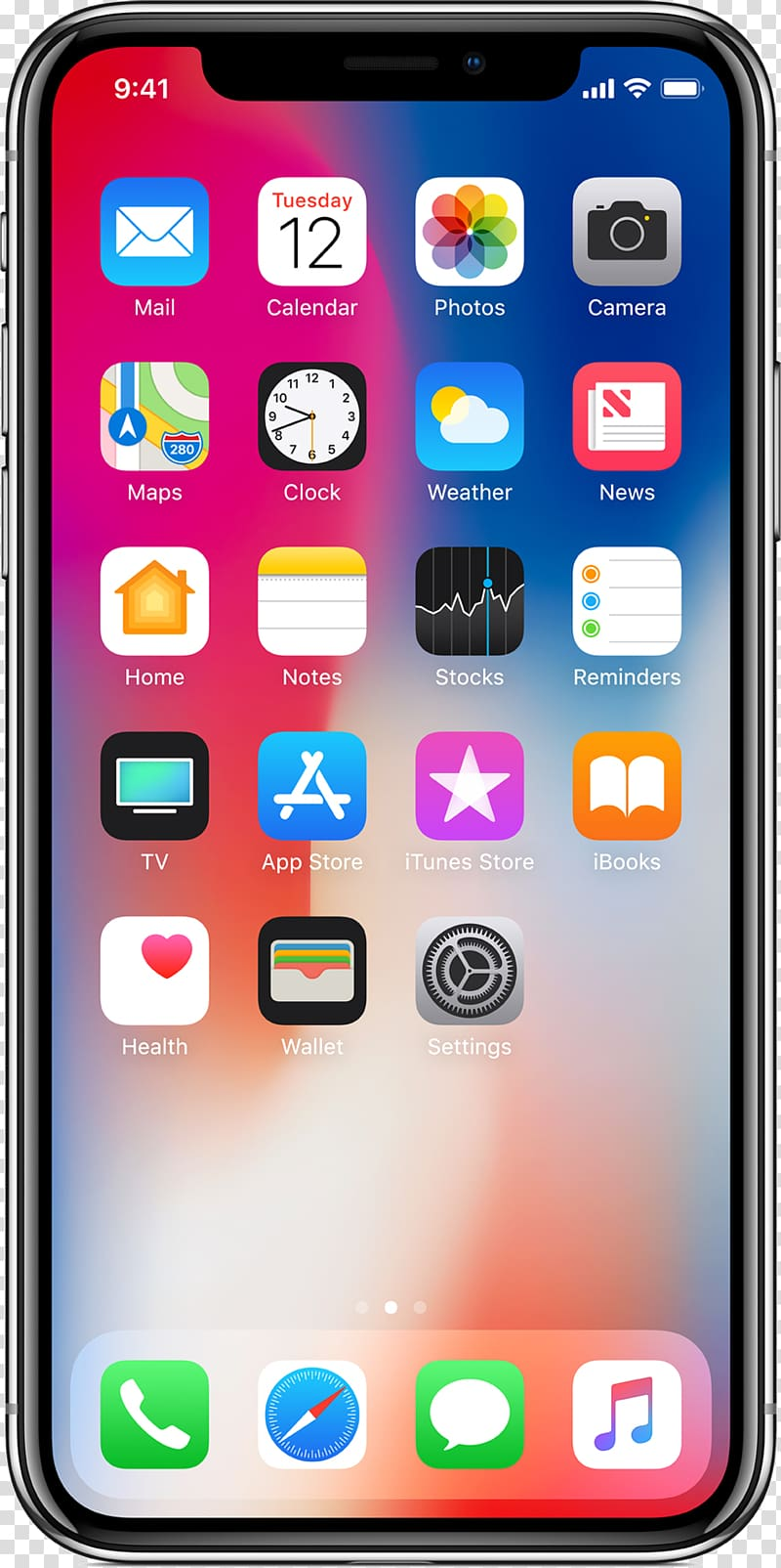 Iphone x image clipart picture black and white stock Space gray iPhone X showing IOS and , iPhone 4 IPhone 8 Plus ... picture black and white stock