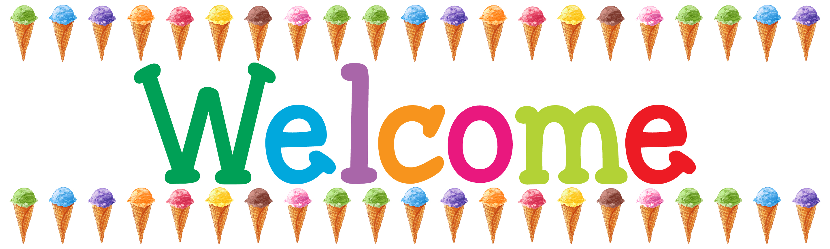 Ice cream banner clipart clipart freeuse stock Ice Cream Cones Welcome Banner clipart freeuse stock