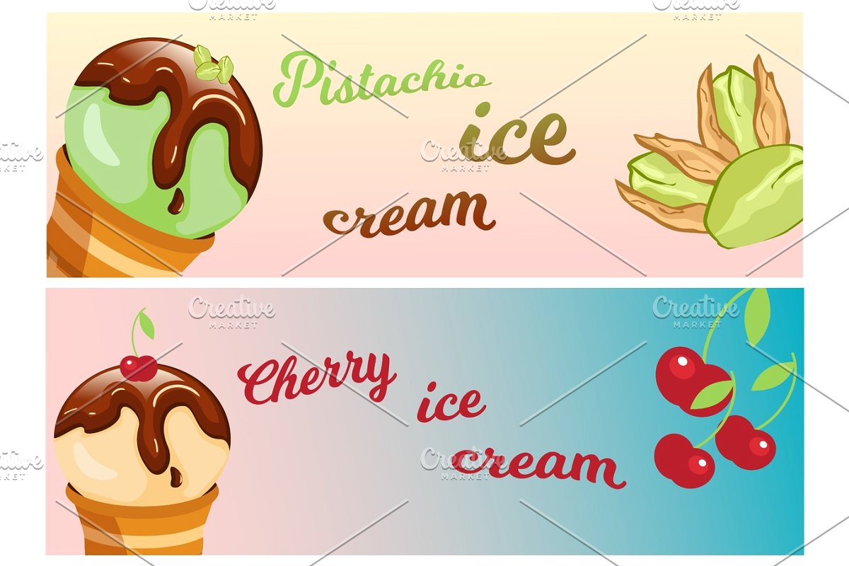 Ice cream banner clipart picture free Collection of ice cream banners sweet dessert cold food vector  illustrations. picture free