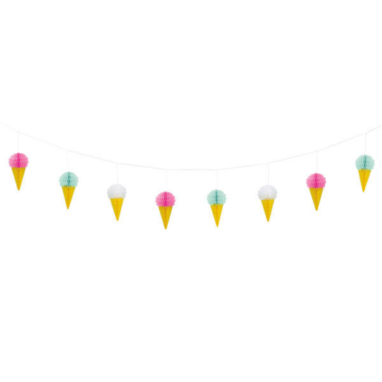 Ice cream banner clipart png free library Ice Cream Honeycomb Garland/7 feet png free library