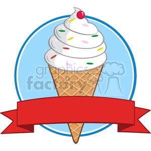Ice cream banner clipart clip art stock Royalty Free RF Clipart Illustration Ice Cream Cone Circle Banner clipart.  Royalty-free clipart # 395917 clip art stock