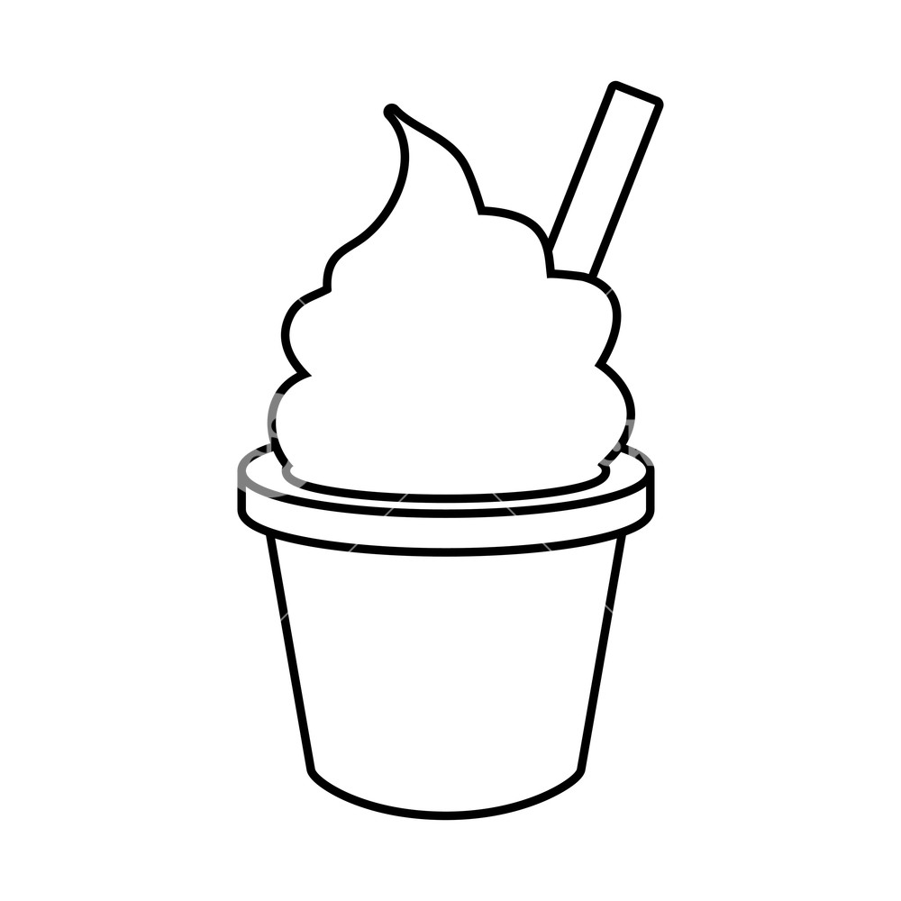 Ice cream cup clipart black and white image black and white library ice cream in cup fast food white background vector ... image black and white library