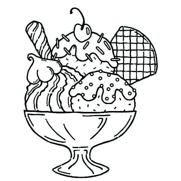 Ice cream sundaes black and white clipart banner transparent library Ice Cream Sundae Drawing at PaintingValley.com | Explore ... banner transparent library