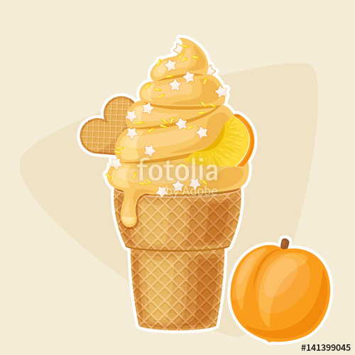 Ice cream with peaches free clipart svg royalty free Peach ice cream in a waffle cup\