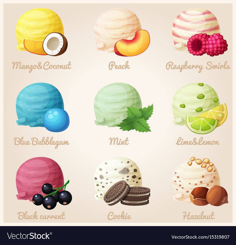 Ice cream with peaches free clipart png transparent Set of cartoon icons ice cream scoops png transparent