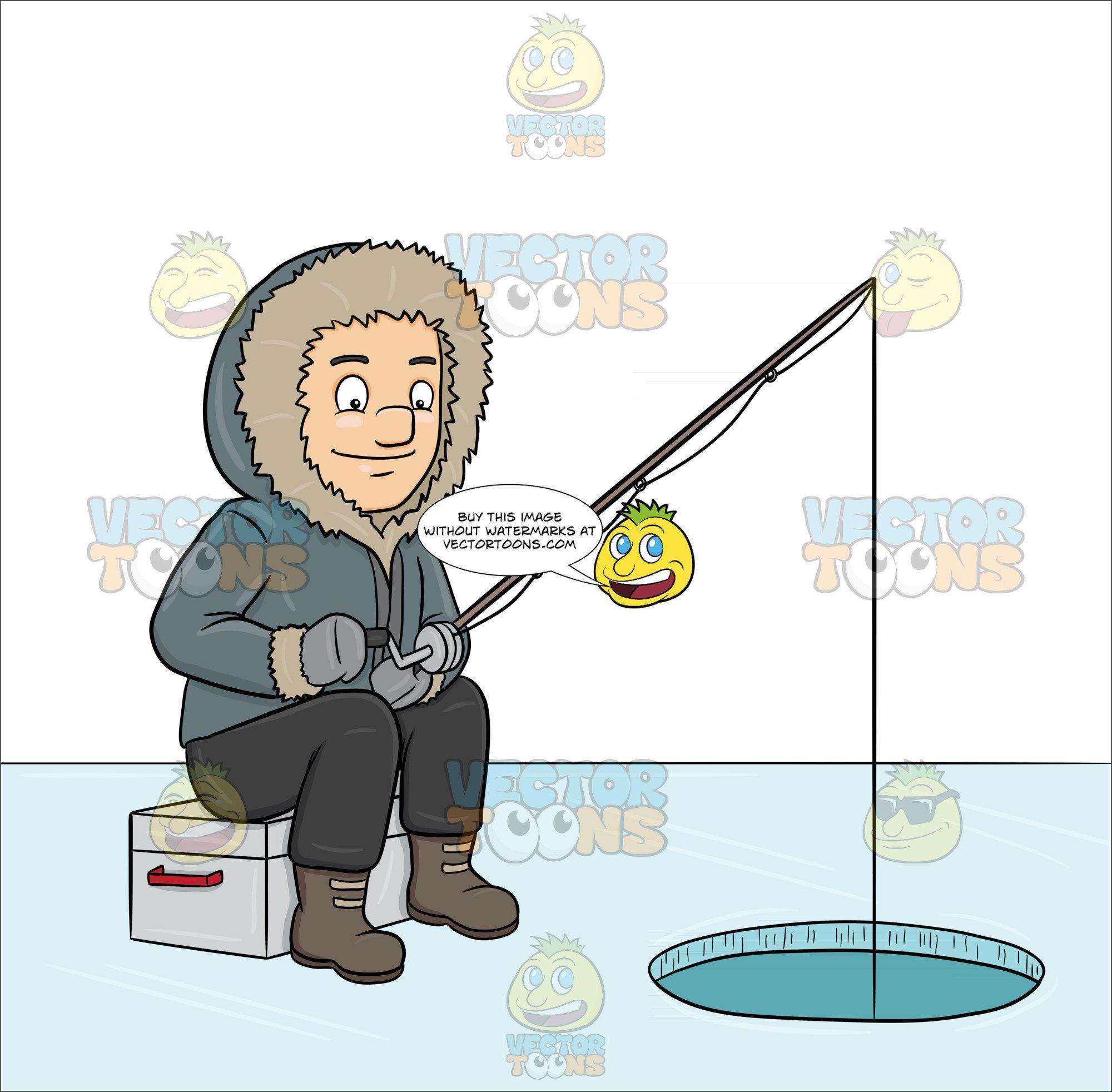 Ice fishing cartoon clipart banner royalty free A Man Ice Fishing On A Frozen Lake banner royalty free