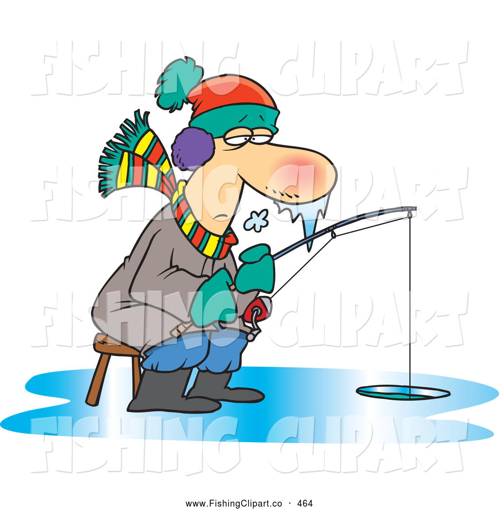 Ice fishing cartoon clipart clip transparent library Clip Art of a Cartoon Frozen Man Ice Fishing, Icicles ... clip transparent library