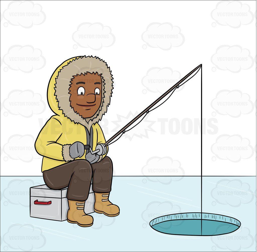 Ice fishing cartoon clipart image freeuse stock A Black Man Ice Fishing On A Frozen Lake #bait #baits ... image freeuse stock