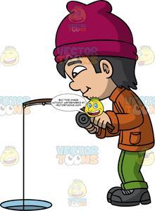 Ice fishing cartoon clipart clipart library download A Boy Ice Fishing clipart library download