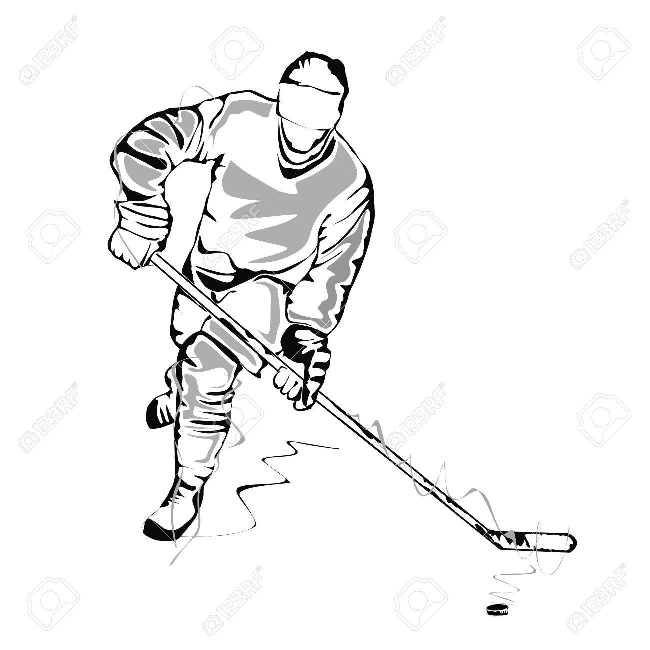 Ice hockey girl player all black clipart png royalty free Stock Vector   Brett   Hockey drawing, Hockey players ... png royalty free