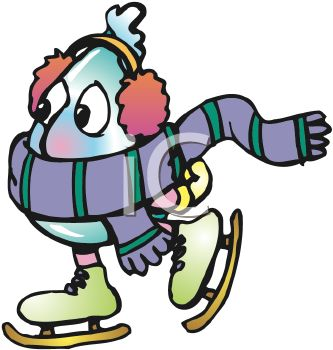 Ice skating character clipart graphic stock Royalty Free Clip Art Image: Cartoon of a Frozen Water Drop Ice ... graphic stock