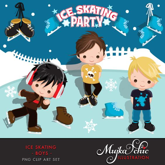 Ice skating character clipart png library Ice Skating Party Boys Clipart Instant Download Winter Outdoor ... png library